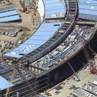 The Apple Campus 2 is seen under construction in Cupertino